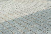 Grey concrete block paving
