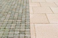 Grey concrete block paving and cream concrete paving slabs