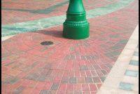 Red multi concrete block paving