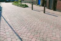 Red multi tumbled concrete block paving