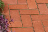 Red stock paver